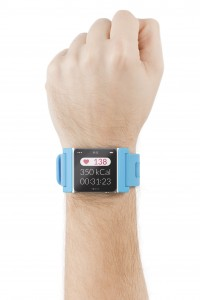 Smart watch on the male hand with heart beat on the screen