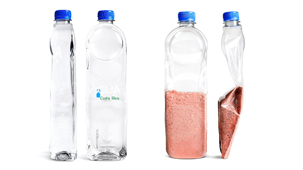 The Agua plastic water bottles are designed to not only deliver H20, but to be used as roof tiles in developing communities.