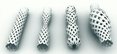 Pipes of different shapes created through 4D printing.