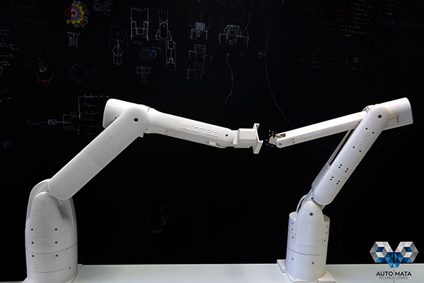 London-based Automata has produced two prototypes of their lightweight robotic arm, Eva. Here, Eva 9 (left) meets Eva 8 (right).