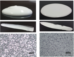 Figure 2: Dispersing 20wt% Uncoated Zinc Oxide (left) and Titanium Dioxide (right): smooth and consistent texture, uniform coverage and very fine particle distribution.
