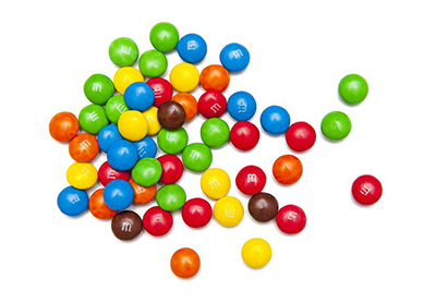 M&Ms produced for U.S. consumers still contain artificial colors, while in Europe they've been reformulated with natural alternatives.