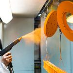 Electrostatic spray application of powder paint on metal objects