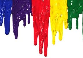 9034981 - different colors of paint dripping